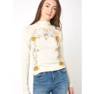Free People Disco Rose Embroidered Top